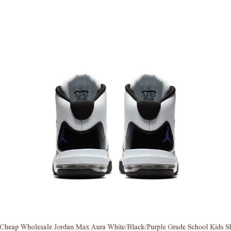 check out 499bd e2448 Cheap Wholesale Jordan Max Aura White Black Purple Grade School Kids ...