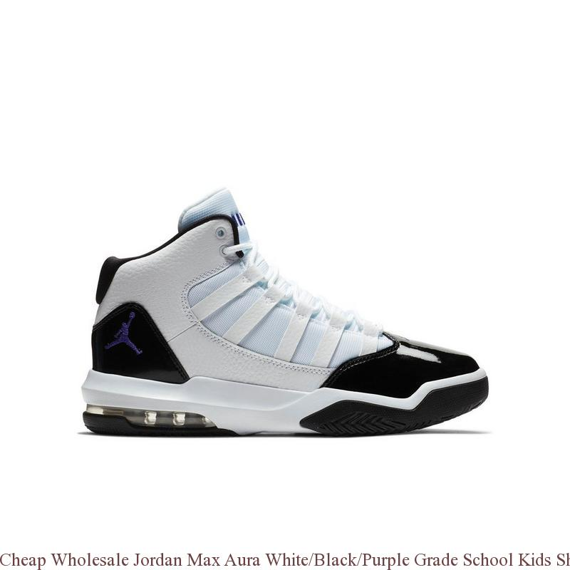 f138f2049dd9 Cheap Wholesale Jordan Max Aura White Black Purple Grade School Kids ...