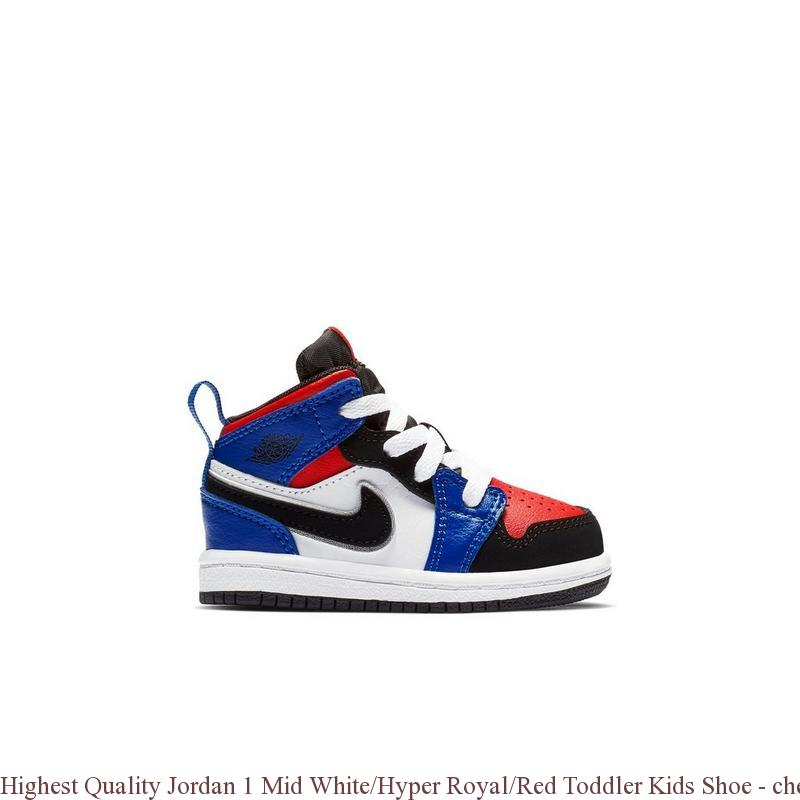 release date 794be f692f Highest Quality Jordan 1 Mid White/Hyper Royal/Red Toddler Kids Shoe -  cheap velvet jordans - R0474