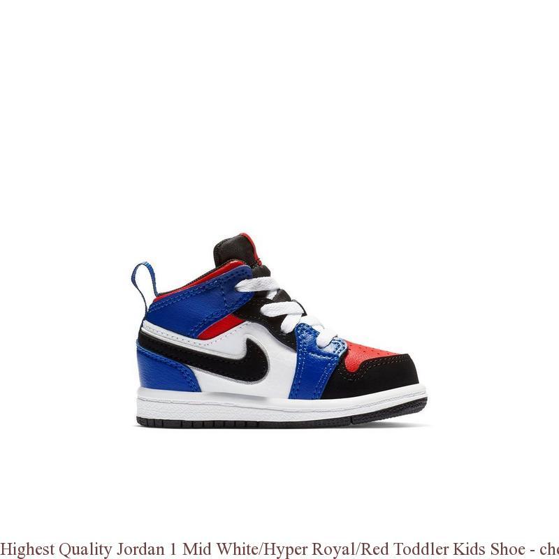 9587b3292f48c6 Highest Quality Jordan 1 Mid White Hyper Royal Red Toddler Kids Shoe ...