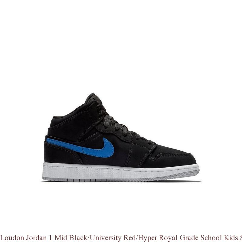 18dc33779022dd Loudon Jordan 1 Mid Black University Red Hyper Royal Grade School Kids Shoe  ...