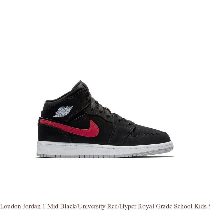 Loudon Jordan 1 Mid Black University Red Hyper Royal Grade School Kids Shoe  – cheap ... 8b230d92b